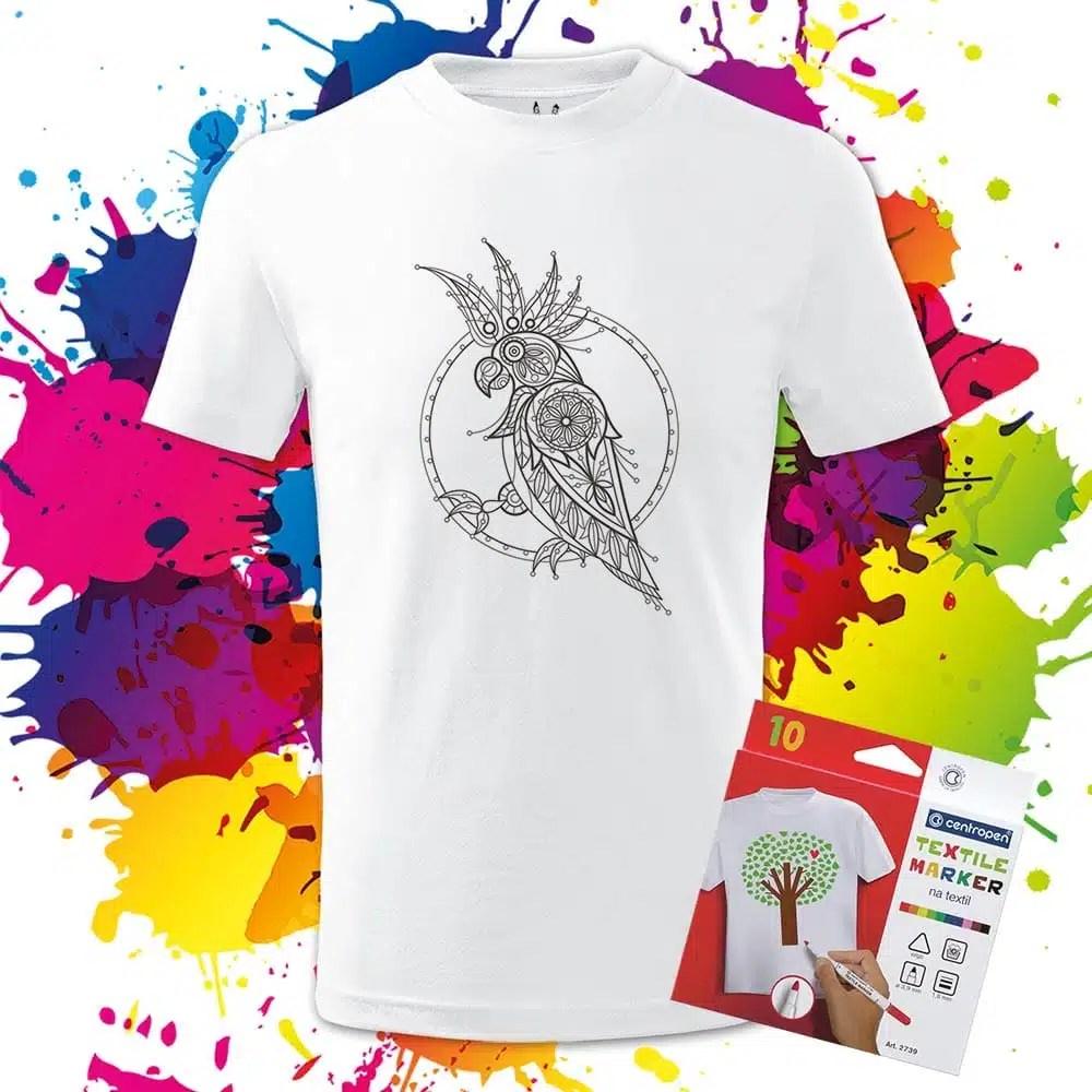 Detské tričko Kakadu - Omaľovánka na Tričku - Oma & Luj