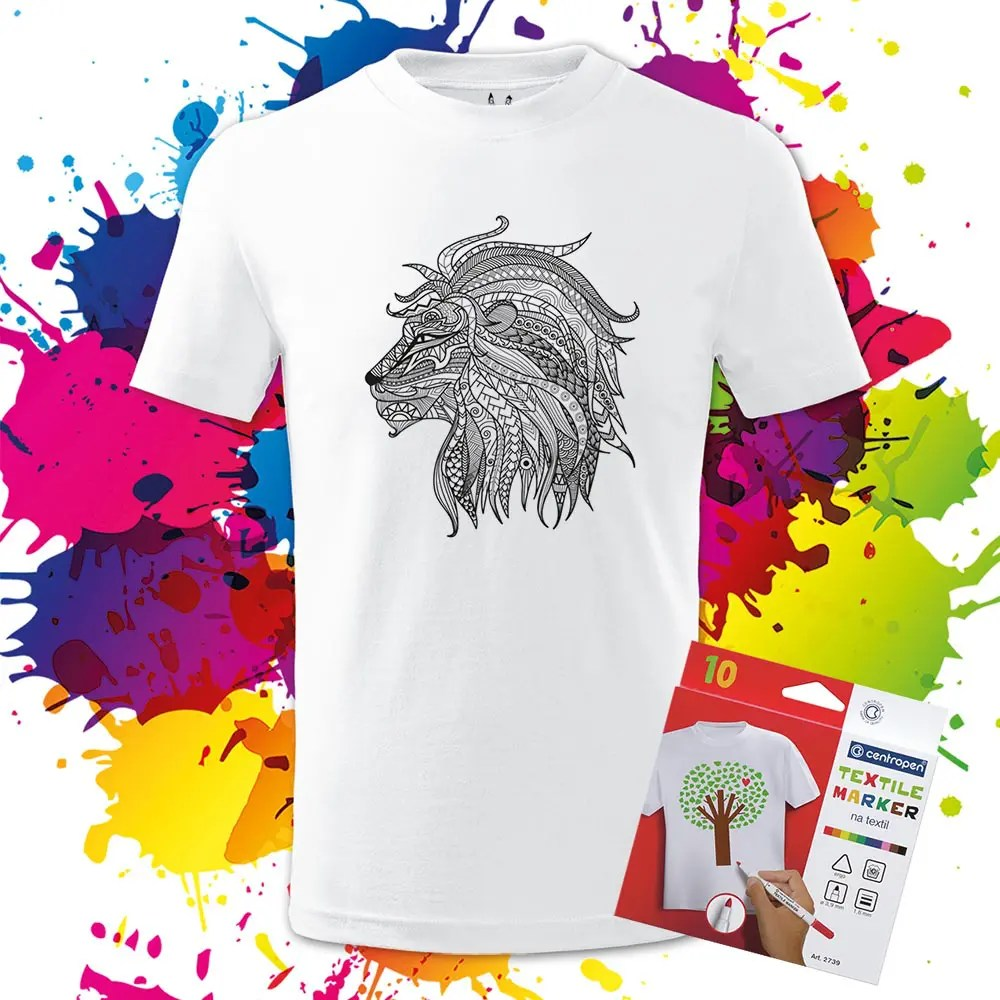Detské tričko Lev profil - Omaľovánka na Tričku - Oma & Luj