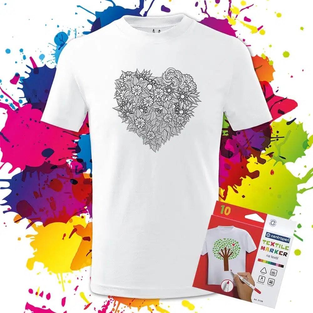 Detské tričko Srdce z kvetov - Omaľovánka na Tričku - Oma & Luj