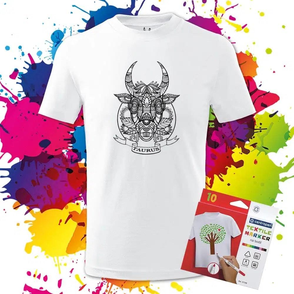 Detské tričko Býk - Znamenia - Omaľovánka na tričku - Oma & Luj