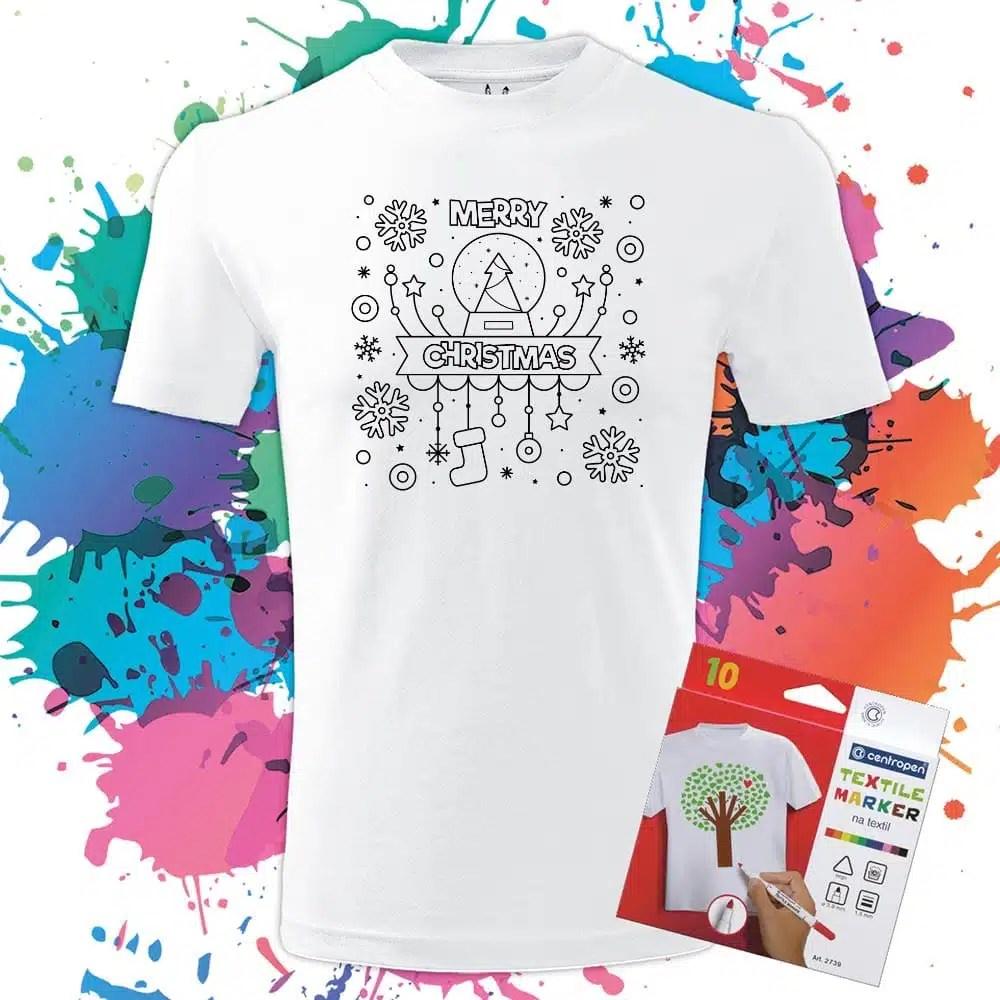 Pánkse tričko Veselé vianoce Merry Christmas Snehová guľa - Omaľovánka na tričku - Oma & Luj