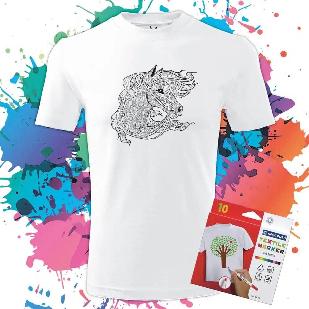 Pánske tričko Kôň - Koník - Omaľovánka na tričku - Oma & Luj