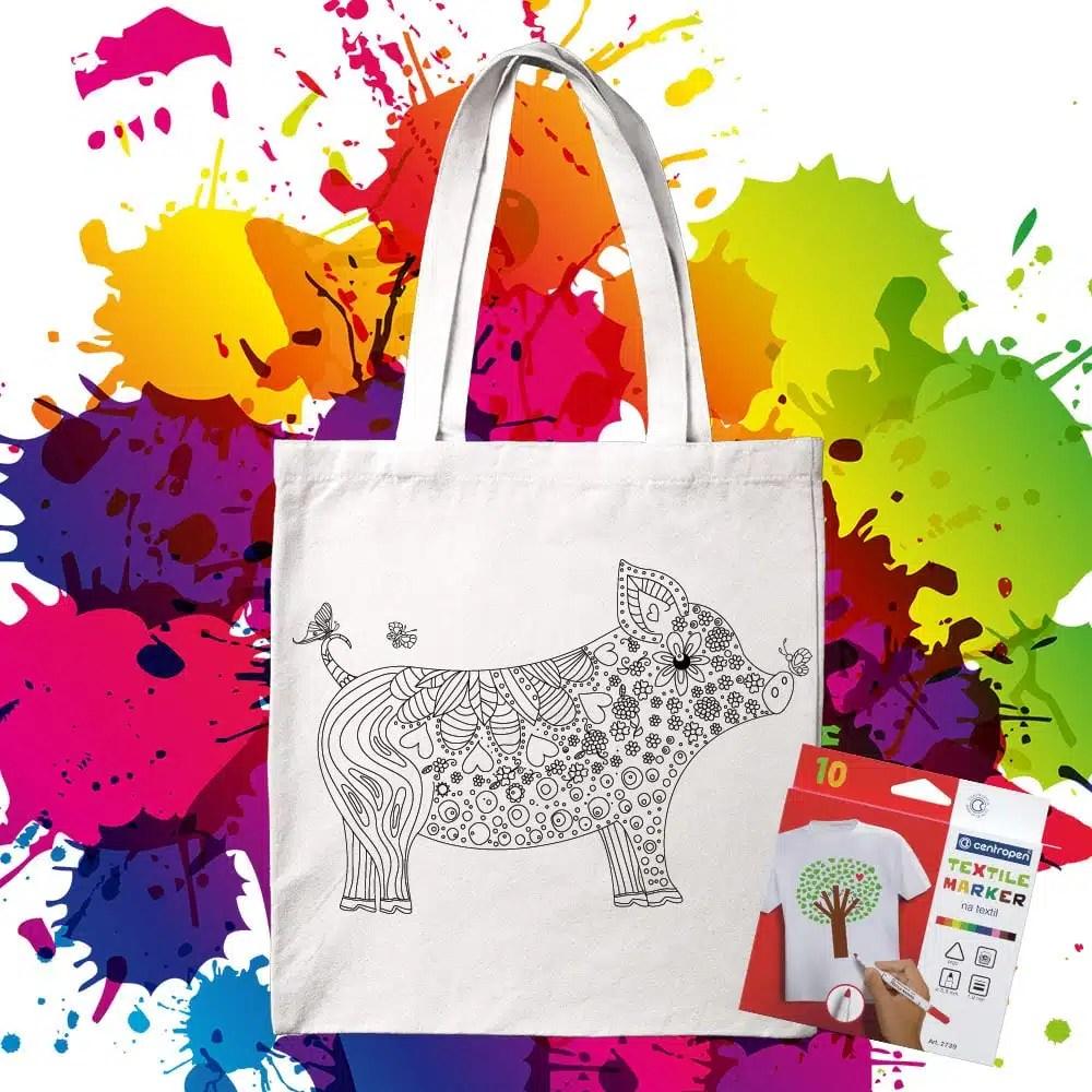 Bavlnená taška na vymaľovanie Prasiatko - Oma & Luj