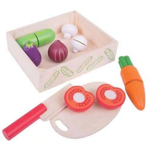 Drevené potraviny v krabičke - Krájanie zeleniny- Oma & Luj