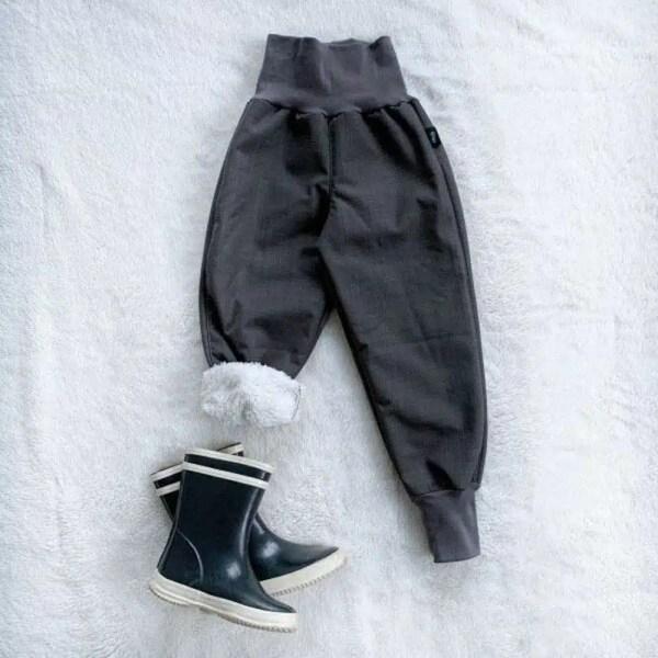 Kiwi softshellové nohavice zateplené s barančekom sivé - Oma & Luj