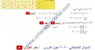 شرح درس الاعداد الصحيحة والمضاعفات في الرياضيات للصف السابع فصل اول