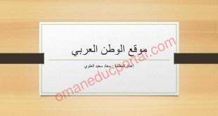 ملخص شرح درس موقع الوطن العربي دراسات اجتماعية للصف الخامس الفصل الاول