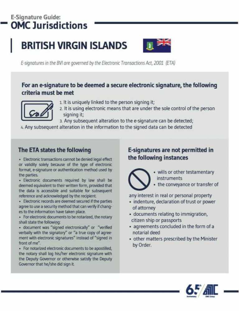 British Virgin Island - E-Signature Guide OMC Group Jurisdictions