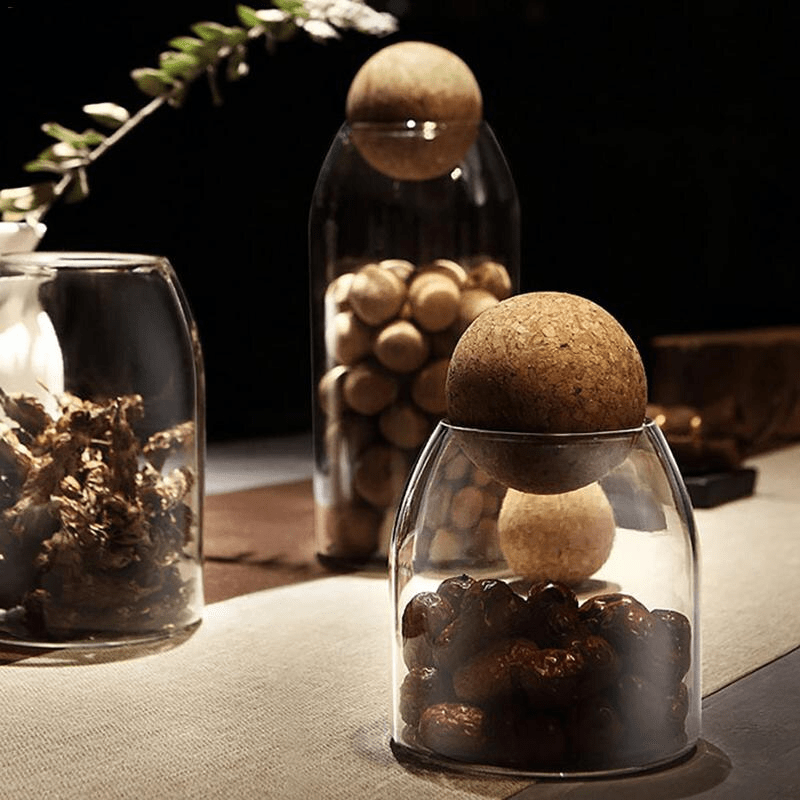 bocal en verre avec joint en liège pour décoration cuisine