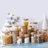 Bocal en verre et couvercle en bambou pour décoration et rangement cuisine