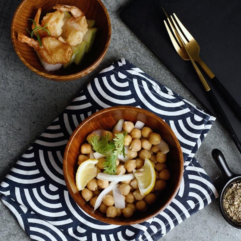 bol en bois style japonais décoration table salle à manger