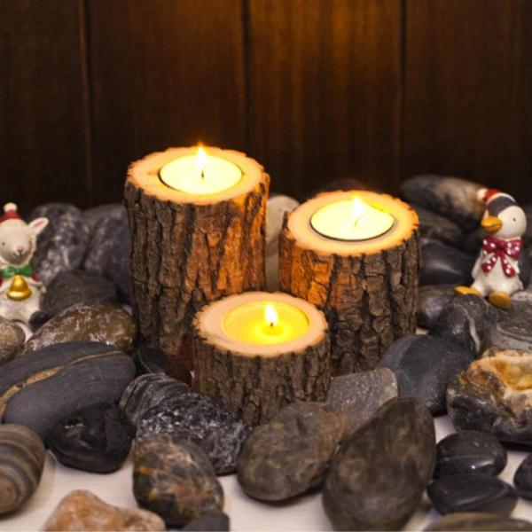bougeoir en bois avec écorce pour décoration table rustique et design