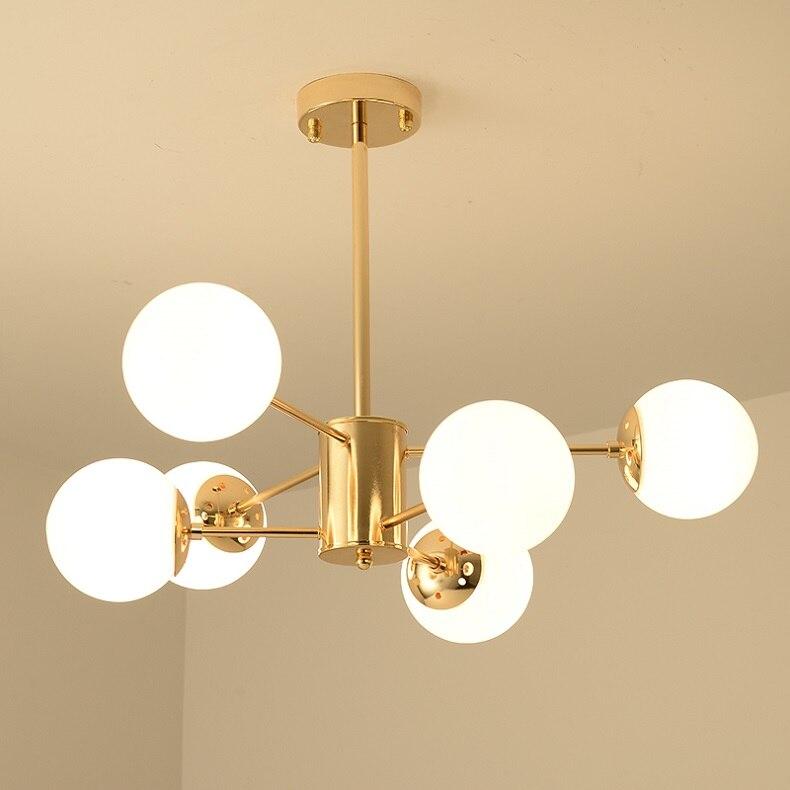 Lus® – Grand lustre chic et élégant doré avec 6 globes