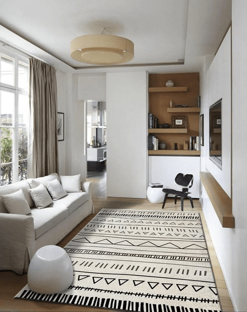 tapis à motif géométrique décoration salon