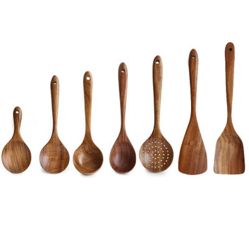 ensemble de 7 ustensiles de cuisine en bois naturel