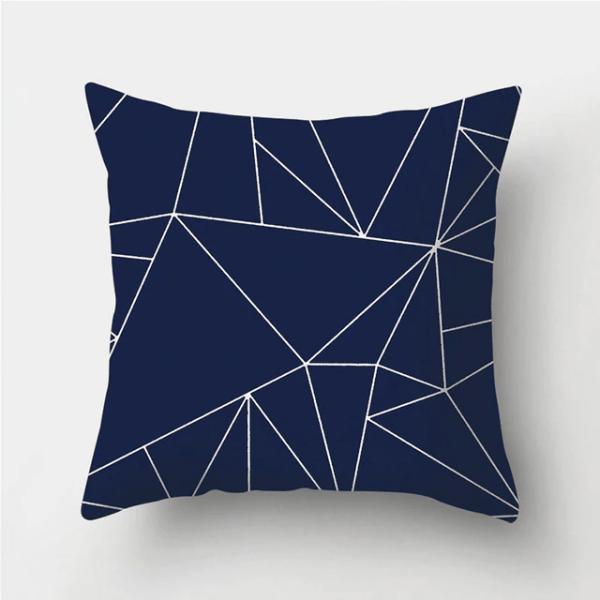 housse de coussin géométrique bleu ligne fine