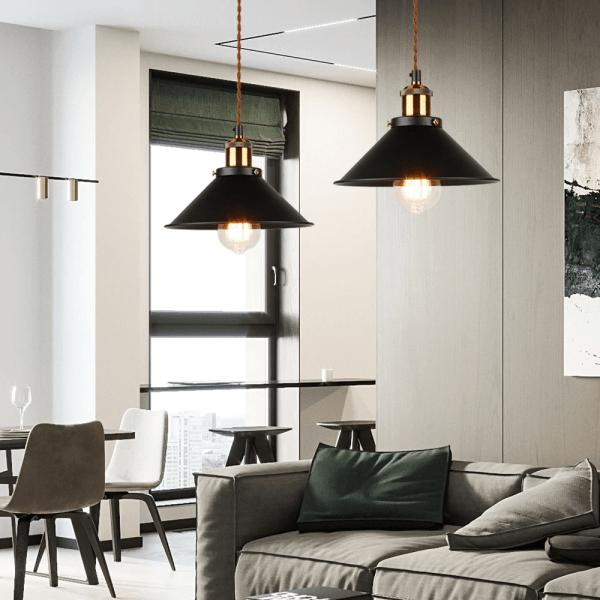 luminaire suspendu en fer et bronze