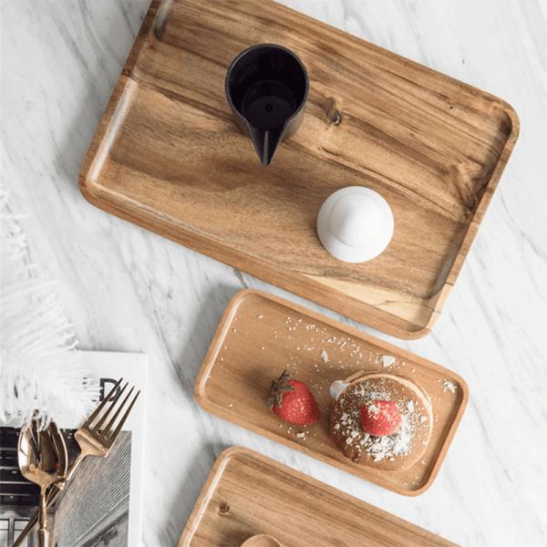 plateau en bois acacia décoration table