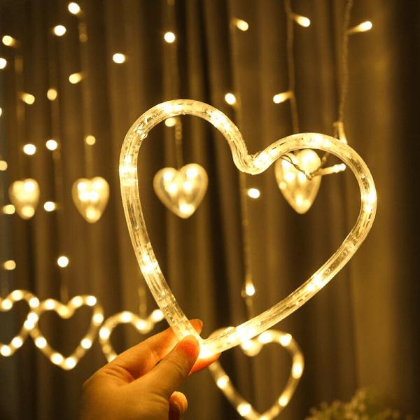 rideau led forme coeur blanc chaud décoration saint-valentin