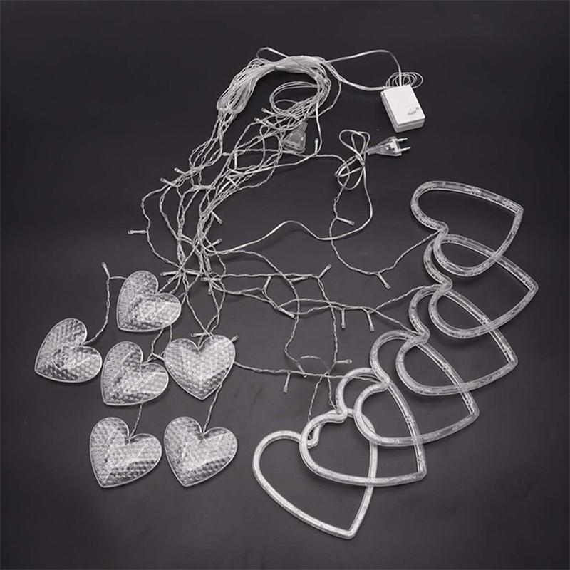 rideau led forme coeur pour décoration intérieur saint-valentin