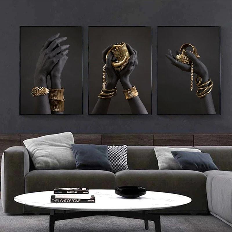 toile moderne noir or décoration intérieur