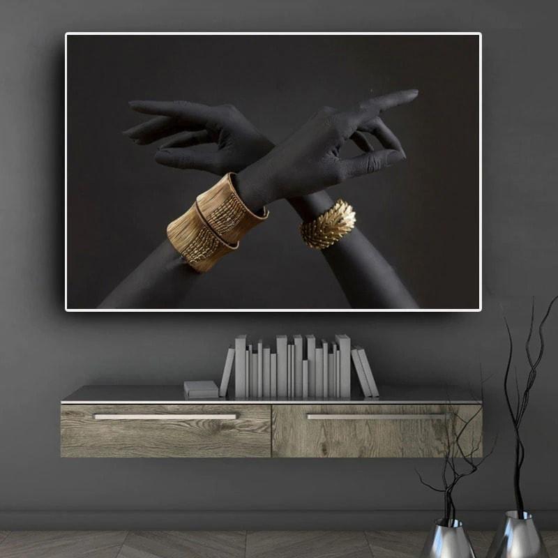 toile moderne noir or décoration murale