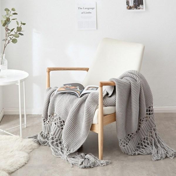 couvertures de lit tricotées plaid gris
