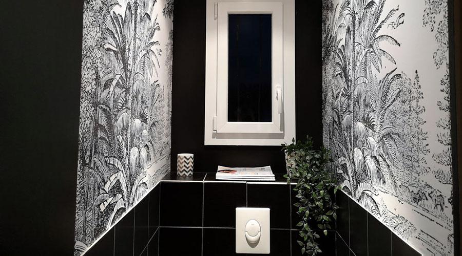 comment décorer toilettes objets papier peint