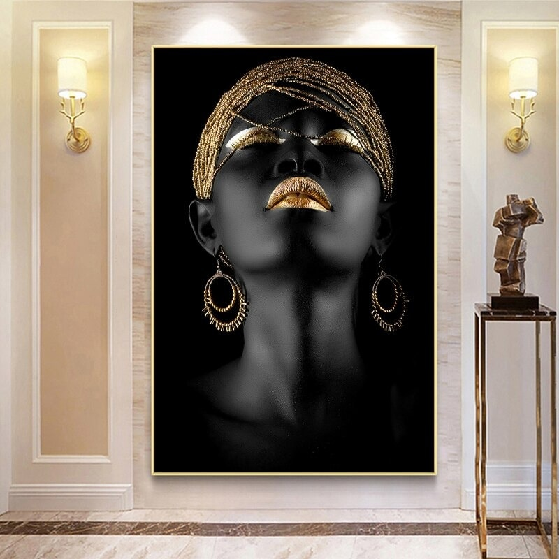 toile art moderne de femme noire africain