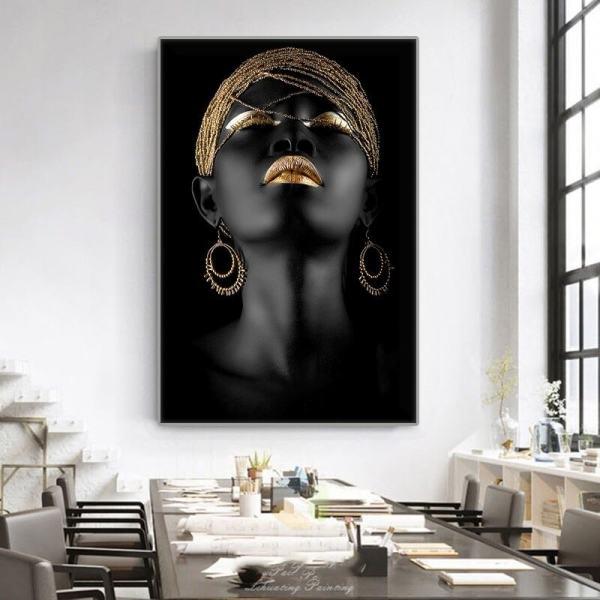toile art moderne de femme noire décoration intérieure