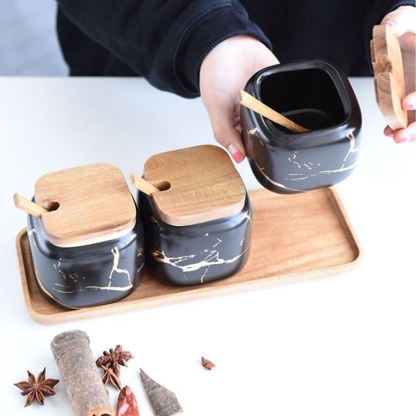 pots assaisonnement décoration cuisine couleur noir
