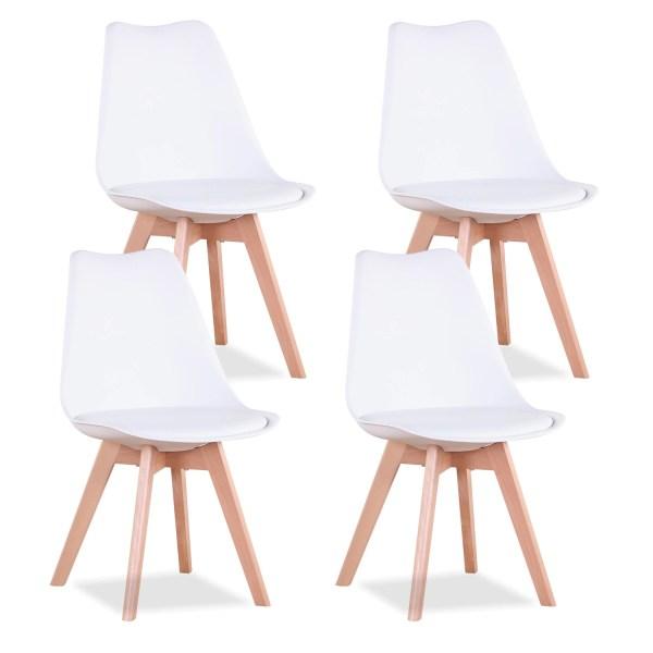 ensemble de 4 chaises table à manger blanc