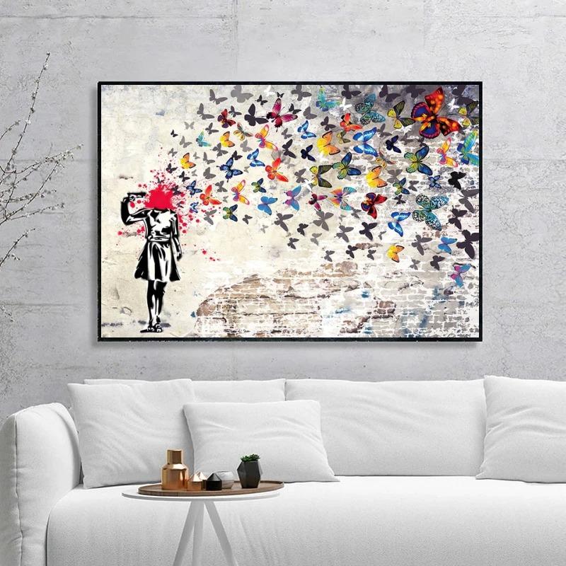 toile Banksy fille papillon décoration murale