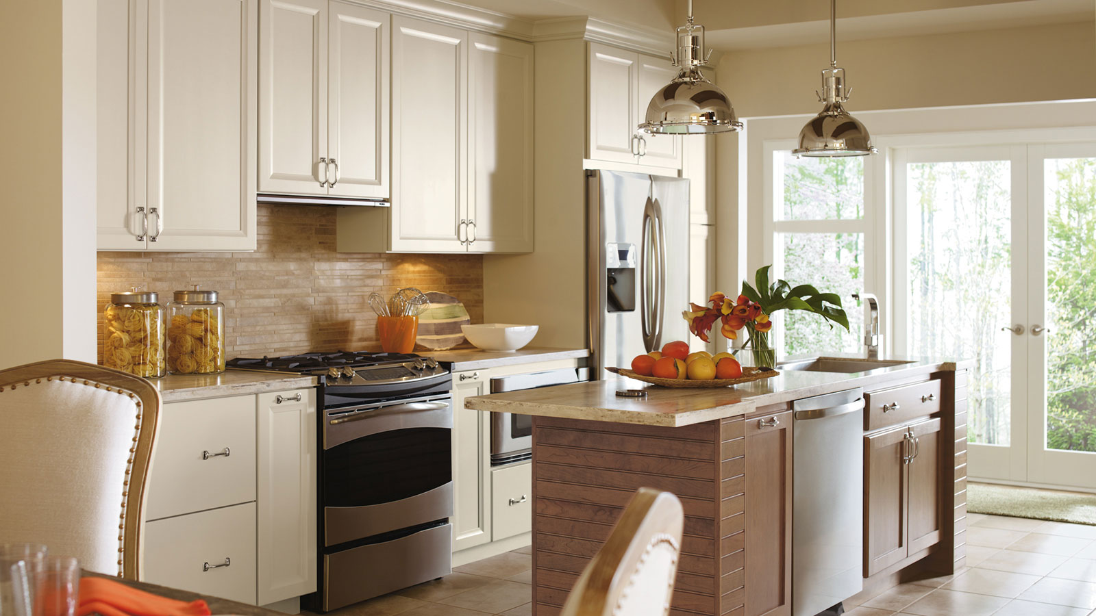 Painted Maple Cabinets in a Casual Kitchen - Omega on Maple Cabinets Kitchen  id=90847