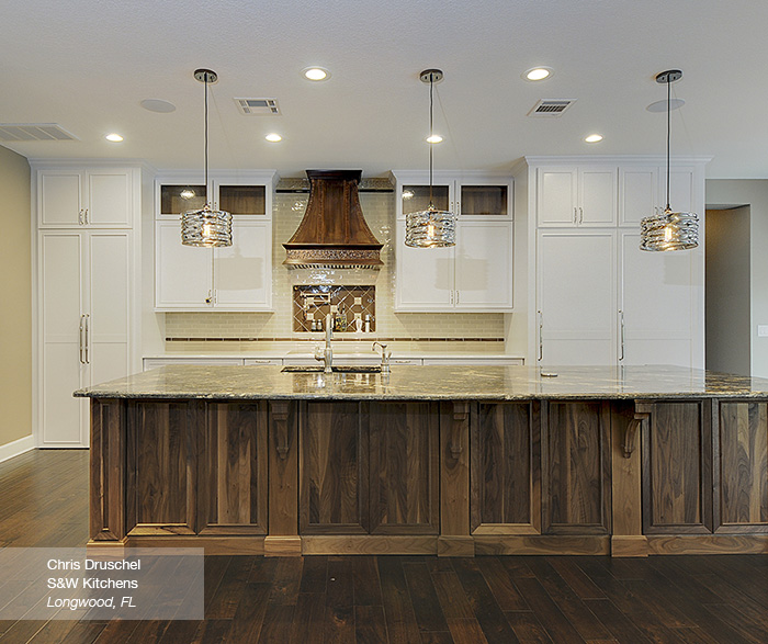 White Cabinets With A Walnut Kitchen Island Omega