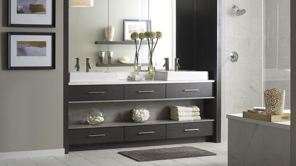 Modern Walnut Bathroom Vanity - Omega Cabinetry