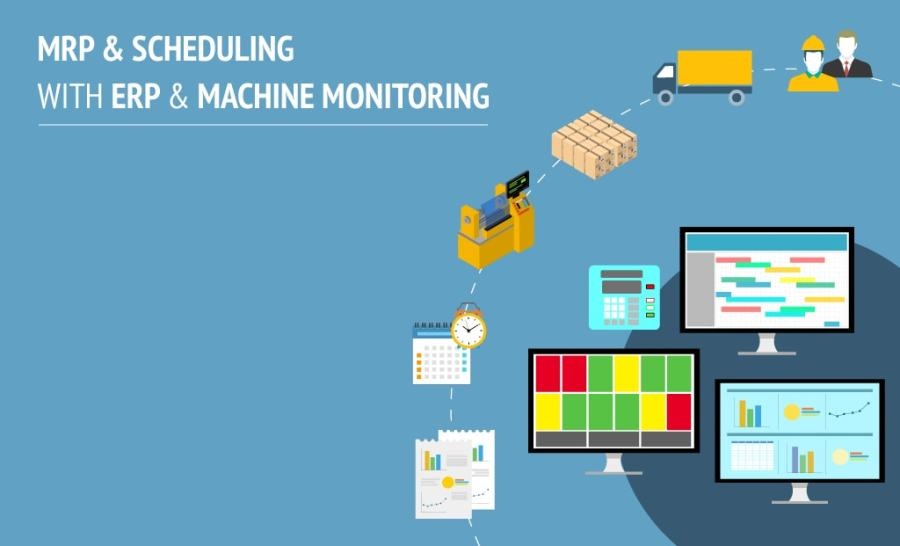 Material Requirement Planning (MRP) and Scheduling with ERP and Machine Monitoring