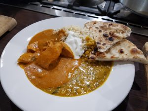 British Indian Restaurant Chicken Curry with Dall, Rice & Naan bread
