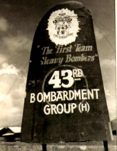 The sign for Gil Deibel's bomber group