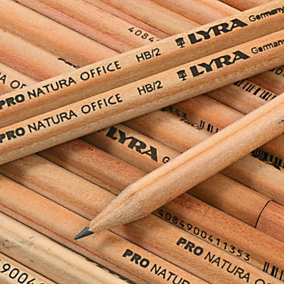 12 X LYRA NATURAL WOOD PENCILS With ERASER RUBBER BOXED HB