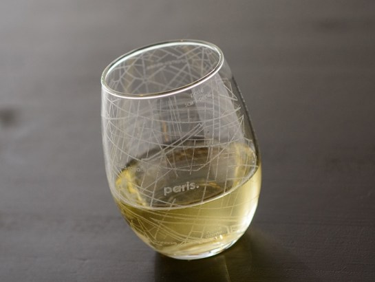 Etched City Map Stemless Wine Glasses