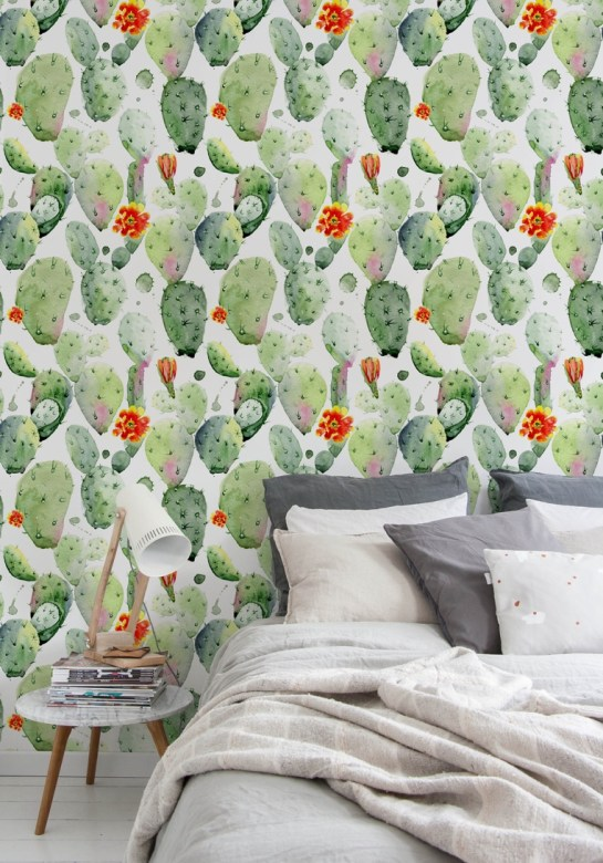 Watercolor Cactus Print Removable Peel-and-Stick Wallpaper