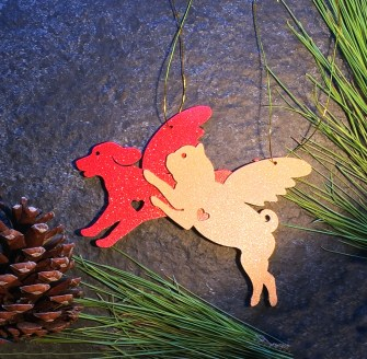 Retriever and Pug Ornament