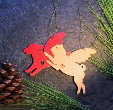 Retriever and Pug Ornament