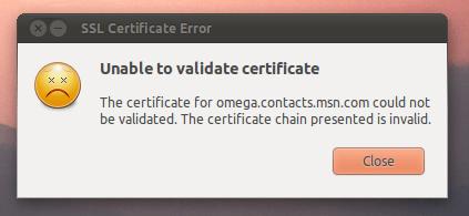 خطأ ssl certificate error في برنامج pidgin