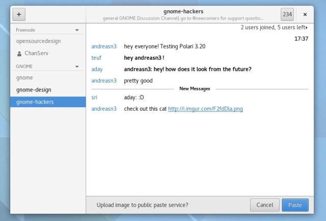 polari irc client in gnome 320