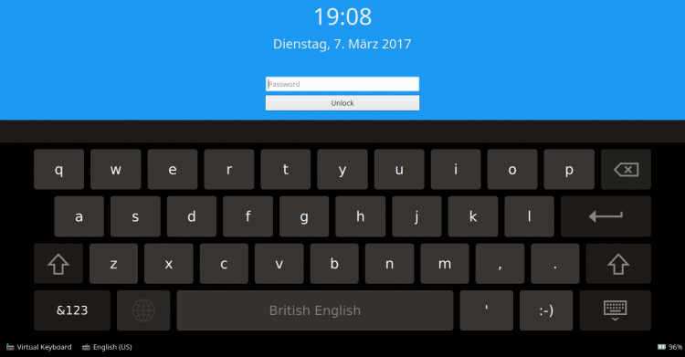 virtual keyboard on de lock screen