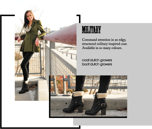 Command attention in an edgy, structured military-inspired coat. Available in so many colours.