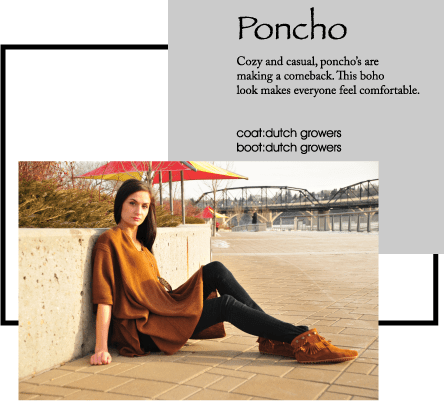 Cozy and casual, poncho's are making a comeback. This boho look makes everyone feel comfortable.