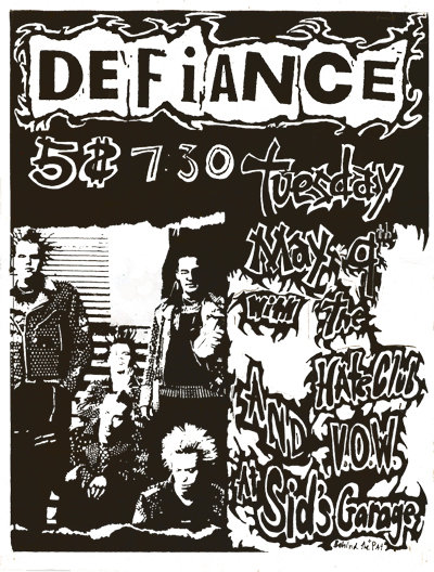 hate club, visions of war, defiance at Sid's Garage 1995